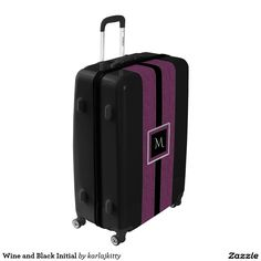 Wine and Black Initial Luggage