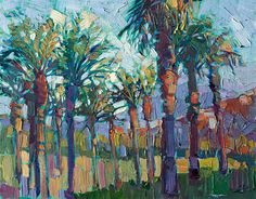 Date Palms original oil painting 11x14 for sale by Erin Hanson