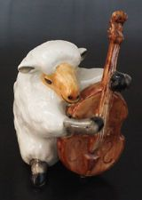 Ceramic Figurine Animal Statue Sheep Playing Bass Musical