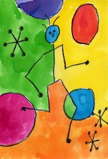 """Joan Miro was a Spanish artist who developed a very whimsical style back in the 1930's. His painting called """"People and Dog in Sun"""" is  fun to imitate by drawing stick figures, stars and circles."""