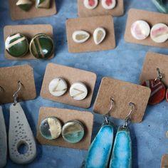 Ceramic earrings by Savanna Snow Wilkins etsy: prancingpigspottery