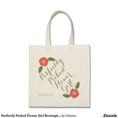 Custom add your flower girl's name customized, personalized flower girl special wedding gift tote bag with classic damask filigree swirl flourishes. Special Wedding Gifts, China Rose, Customized Girl, Think Happy Thoughts, Flower Girl Gifts, Something Old, Bag Making, Reusable Tote Bags, Budget