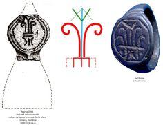 """Pomul Vieţii dunărean: """"V""""-ul = emblema zeiţei-pasăre, derivată din triunghiul feminin; există deja în paleoliticul superior, ca emblemă a zeiţei-pasăre este atestat din neoliticul timpuriu şi continuă în fazele ulterioare; Bucraniul = izvor al vieţii, apă; origine în paleoliticul superior, de importanţă deosebită începând cu neoliticul timpuriu; Linii paralele, pieptene = ape curgătoare, apă de ploaie, simbol al succesului şi abundenţei; atestat în neolitic şi în toate perioadele următoare Dog Tags, Dog Tag Necklace, Jewelry, Jewlery, Jewerly, Schmuck, Jewels, Jewelery, Fine Jewelry"""