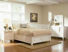 Sandy Beach King White Wood Storage Bed w/ Drawers 4 Piece Bedroom Set 201309KE #Coaster #Cottage #BedroomSets 2098