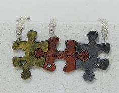 Puzzle Pieces 3 piece Leather Necklace Set by GirlwithaFrogTattoo, $48.00