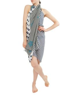 Cotton Polka & Stripes Kaftan & Sarong at Amazon Women's Clothing store