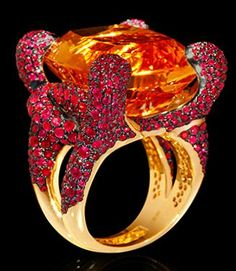 "Mousson Atelier New Age """"Iguana"""" Gold Citrine & Ruby Ring R0050-0/2"