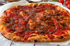 Rianata pizza origanata trapanese ricetta facile Quiches, Bread Recipes, Vegan Recipes, Kitchen Magic, Antipasto, Pizza Dough, Light Recipes, Vegetable Pizza, Dinner Recipes