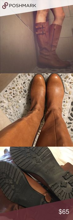 Franco Sarto Leather Boots- Size 8 Beautiful boots!! Size 8. Only worn once. Dark Tan / Light Brown. Franco Sarto Shoes