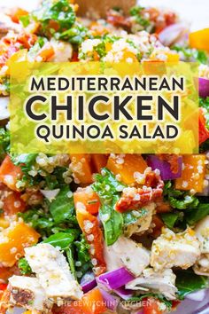 If you're looking for a healthy summer salad recipe then you're in luck! This Mediterranean chicken quinoa salad bowl is a zesty meal prep recipe that works for both lunch and dinner. This makes a great potluck recipe for a bbq. Potluck Dishes, Potluck Recipes, Dinner Recipes, Healthy Recipes, Healthy Food, Chicken Quinoa Salad, Balsamic Vinegar Chicken, Whole Roasted Chicken, Tomato Nutrition