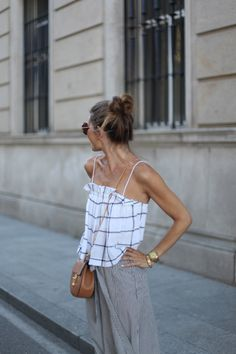 loose windowpane check camisole + tie waist pinstripe skirt