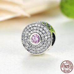 Cristallo rosa in pave di zirconi, Radiant Splendor Charm 100% argento sterling 925 adatta a misure Pandora beads e bracciale europeo S154 di OceanBijoux su Etsy