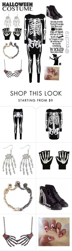 """DIY Skeleton Costume💀"" by hpcc319 ❤ liked on Polyvore featuring Boohoo, Alexander McQueen, Be & D, halloweencostume and DIYHalloween"