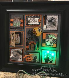 Halloween Sampler Class (Gina Shappa Creative Stampin' Up! Halloween Items, Halloween Pictures, Halloween Projects, Halloween Cards, Halloween Decorations, Halloween 2017, Halloween Shadow Box, 3d Paper Crafts, Paper Crafting