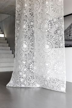 The Dentelle fabric by Creation Baumann has a unique and oversized lace pattern. This most ingenious burn-out simultaneously assumes a romantic and contemporary look. Give really a charm to the room ! Curtain Fabric, Drapes Curtains, Drapery, Laser Cut Fabric, Rideaux Design, Motifs Textiles, Shabby, Boutique Interior, Lace Patterns