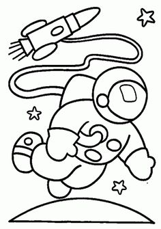 astronaut and rocket in space coloring pages - Pre School Coloring Pages