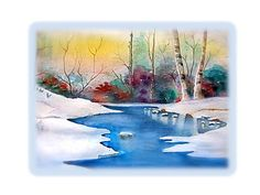 Watercolor Print Snowy River white snow blue by JanetLongArts, $35.00