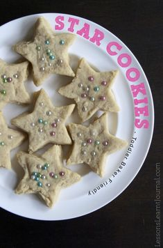 These easy star cookies are great for baking with kids. The dough is quick and easy to put together; and the decorations are gorgeous.