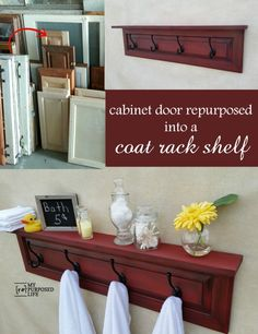 Coat Rack Shelf made from a cabinet door. This tutorial will show you how to make this, plus show you how to easily achieve this fabulous paint color. Cabinet Door Crafts, Old Cabinet Doors, Old Cabinets, Refurbished Furniture, Repurposed Furniture, Furniture Makeover, Furniture Projects, Diy Furniture, Coat Rack Shelf
