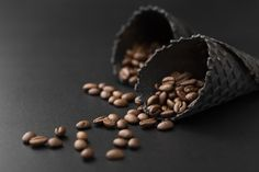 Dark cones with coffee beans on a dark t. Coffee Works, Dark Table, Cone, Free Frames, Girly Pictures, Photoshop, Frappe, Coffee Beans, Free Photos