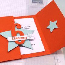Stampin` UP! Einladungskarte Kindergeburtstag, Magnetverschluß