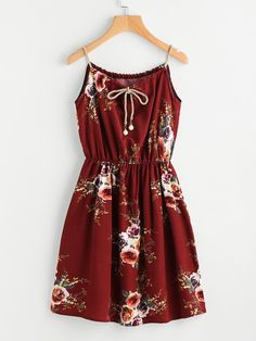 144956e4979 Burgundy Floral Print Continuous Gold String Self Tie Cami Dress
