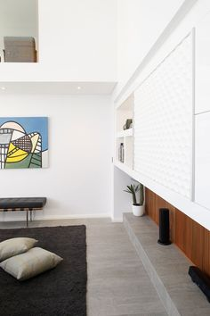 Home Design, Amazing Living Room Corner With Cool Cartoon Paint On The White Wall And Wooden Wall Panel Using Grey Wall And Black Soft Rug W. Wooden Accent Wall, Wooden Wall Panels, Minimalist House Design, Minimalist Home, Home Design Living Room, Living Room Decor, Built In Furniture, Display Homes, Open Plan Living