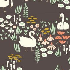 Swan Fabric | White Swans | Dark Brown | Cloud9 Organic Fabric | Floral | Bird Print | Unique Swan Design | Fairy Tale Fabric by SpindleandRose on Etsy