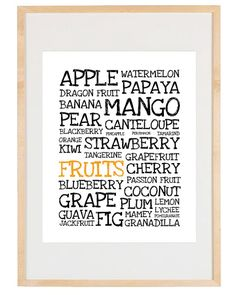 Typography Art - Fruits - 8x10 Print - Digital Illustration Poster - Kitchen Art. $16.00, via Etsy.