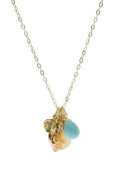 Citrine & Amazonite Elephant Necklace