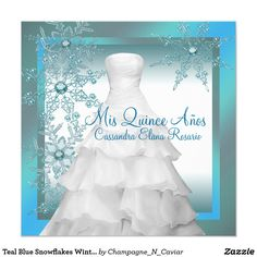 Teal Blue Snowflakes Winter Wonderland Quinceanera Card Elegant ball gown and winter snowflakes teal blue winter wonderland Quinceanera invitations. This beautiful teal blue snowflake party invitation is easily customized for your event by simply adding your event details, font style, font size & color, and wording.