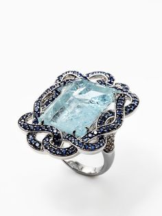 Robert Wander Aquamarine & Sapphire Twisted Border Ring