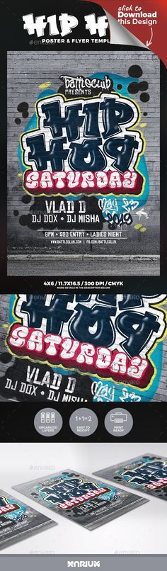 "black, club, crack, dirty, event, event poster, flyer, funk, funky, graffiti, grunge, hip hop, hiphop, house, music, nightclub, paint, party, poster, rap, rnb, saturday, saturdays, spray, street, template, urban Hip Hop Saturday Flyer and Poster Template   Print dimensions:   4.25×6.25""  11.7×16.5""   Features:   Highly organized file Easy to edit Print Ready: CMYK – 300 DPI Layered PSD files Help file   Fonts used: El&Font Urban CalIigraphy Chinese Rocks El&Font Bubble Jak Arta     ..."