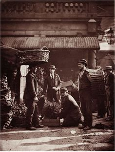1877 Covent Garden Labourers The photographer John Thomson (1837-1921) used the 'Woodburytype' process patented in 1864 for the images in Street Life in London, including this photograph. This was a type of photomechanical reproduction using pigmented gelatin, usually of a rich purple-brown colour. The process was complicated but remained popular until about 1900 because of the high quality and permanence of the finished images.