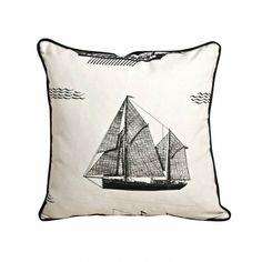 Black Ship White Cushion