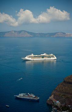 Ships at Fira Old Port, Santorini