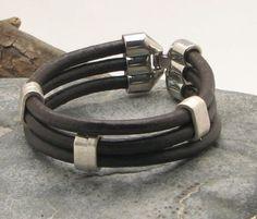 FREE SHIPPING Men's leather bracelet Multi strand by eliziatelye, $28.00