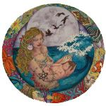 A water spirit holds a shell to a new baby's ear while a full moon hovers in the background. A delightful gift for a new mother!
