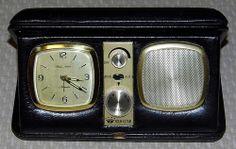 Vintage Four-Star Travel Clock Radio, Radio - Hong Kong, Clock  Leather Case - Japan.