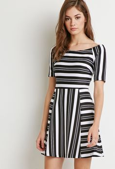 Forever 21 Striped Off The Shoulder Dress In Black Lyst Vertical Striped  Dress 418faa79a