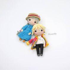 Amigurumi do Howl's Moving Castle Crochet Kawaii, Crochet Diy, Crochet Crafts, Yarn Crafts, Crochet Projects, Sewing Crafts, Sewing Projects, Crochet Doll Tutorial, Crochet Doll Pattern