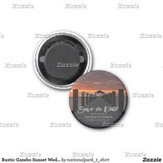 Rustic Gazebo Sunset Wedding Save The Date 1 Inch Round Magnet This wedding save the date features nature landscape photography of a beautiful Rodanthe, North Carolina, Cape Hatteras National Seashore sunset with light grey text. Great for a beach, country, rustic, sunset themed or destination wedding. Matching products are available in my shop.