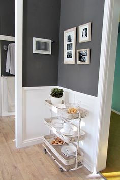 Love the wall color and white!