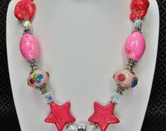 Coral Pink Chunky Jewelry | PINK CHUNKY Cowgirl Necklace with A B Rhinestone Boots Pendant - THeSe ...