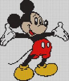 Diy Crafts - -Alpha friendship bracelet pattern 9726 added by mickey mouse walt disney. Mickey Mouse Blanket, Crochet Mickey Mouse, Crochet Disney, Graph Crochet, Crochet Diagram, Crochet Patterns, Disney Cross Stitch Patterns, Cross Stitch Charts, Cross Stitching