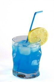 Blue Long Island: 1 ounce vodka, 1 ounce gin, 1 ounce light rum, 1 ounce gold tequila, 1 ounce Blue Curacao liqueur, 5 ounces sweet and sour mix