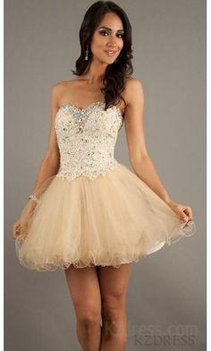 Embellished Sweetheart Organza Short Sleeveless Champagne Prom Dress Cheap kzdress12245