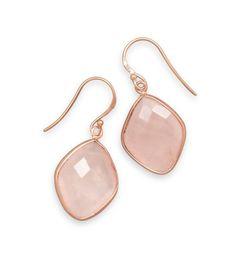14 Karat Gold Plated Rose Quartz Earrings