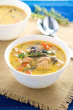 Creamy Chicken and Mushroom Soup - perfect bowl of comfort on a cold day and done in under 30 minutes. Perfect for the chilly weather!