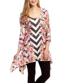 Citi Life Pink & Black Floral Chevron Sidetail Tunic - Women | zulily